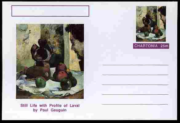 Chartonia (Fantasy) Famous Paintings - Still Life with Portrait of Laval by Paul Gauguin postal stationery card unused and fine
