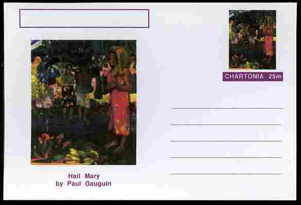 Chartonia (Fantasy) Famous Paintings - Hail Mary by Paul Gauguin postal stationery card unused and fine