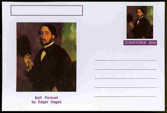 Chartonia (Fantasy) Famous Paintings - Self Portrait by Edgar Degas postal stationery card unused and fine