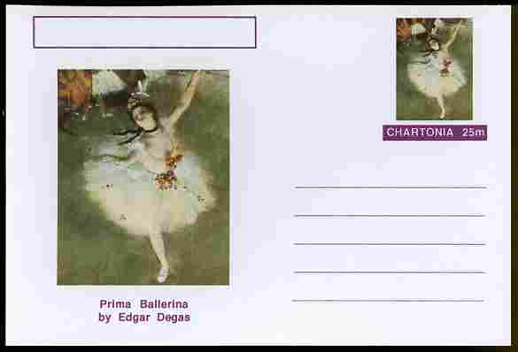 Chartonia (Fantasy) Famous Paintings - Prima Ballerina by Edgar Degas postal stationery card unused and fine