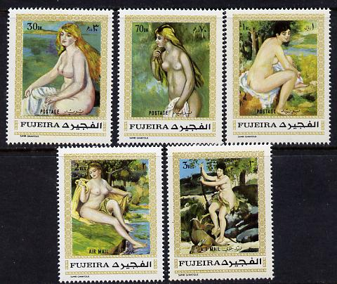 Fujeira 1971 Paintings by Renoir set of 5 (Mi 648-52A) unmounted mint
