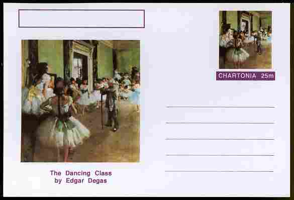 Chartonia (Fantasy) Famous Paintings - The Dancing Class by Edgar Degas postal stationery card unused and fine