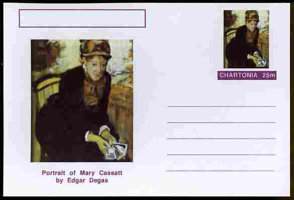 Chartonia (Fantasy) Famous Paintings - Portrait of Mary Cassatt by Edgar Degas postal stationery card unused and fine