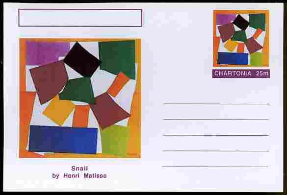 Chartonia (Fantasy) Famous Paintings - Snail by Henri Matisse postal stationery card unused and fine