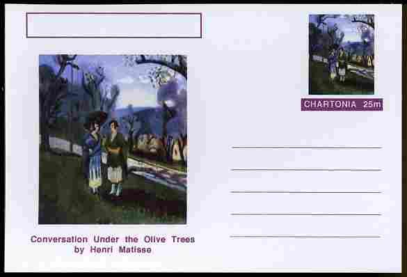 Chartonia (Fantasy) Famous Paintings - Conversation under the Olive Trees by Henri Matisse postal stationery card unused and fine