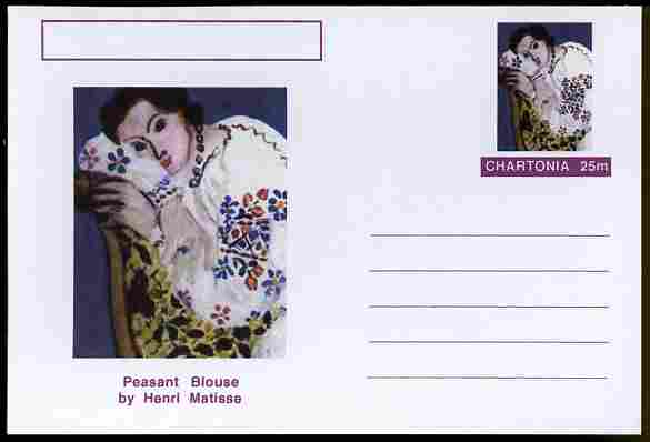 Chartonia (Fantasy) Famous Paintings - Peasant Blouse by Henri Matisse postal stationery card unused and fine