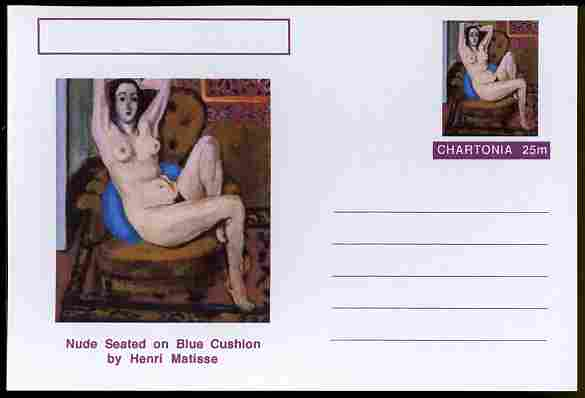 Chartonia (Fantasy) Famous Paintings - Nude Seated on Blue Cushion by Henri Matisse postal stationery card unused and fine
