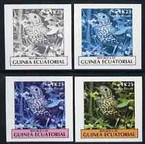 Equatorial Guinea 1977 Birds EK25 (Mistle Thrush) set of 4 imperf progressive proofs on ungummed paper comprising 1, 2, 3 and all 4 colours (as Mi 1209)