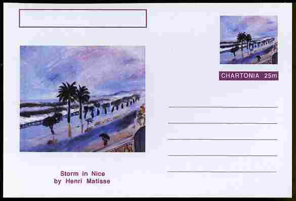 Chartonia (Fantasy) Famous Paintings - Storm in Nice by Henri Matisse postal stationery card unused and fine