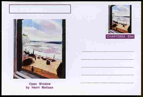 Chartonia (Fantasy) Famous Paintings - Open Window by Henri Matisse postal stationery card unused and fine, stamps on arts, stamps on matisse, stamps on