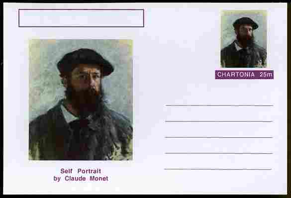 Chartonia (Fantasy) Famous Paintings - Self Portrait by Claude Monet postal stationery card unused and fine