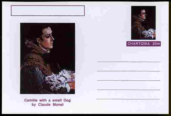 Chartonia (Fantasy) Famous Paintings - Camille with a small Dog by Claude Monet postal stationery card unused and fine
