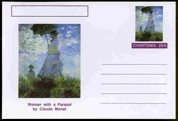 Chartonia (Fantasy) Famous Paintings - Woman with a Parasol by Claude Monet postal stationery card unused and fine
