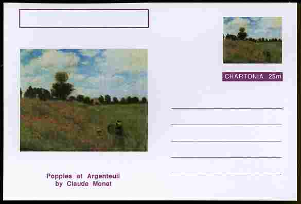 Chartonia (Fantasy) Famous Paintings - Poppies at Argentauil by Claude Monet postal stationery card unused and fine