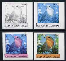 Equatorial Guinea 1977 Birds EK50 (Robin) set of 4 imperf progressive proofs on ungummed paper comprising 1, 2, 3 and all 4 colours (as Mi 1210)