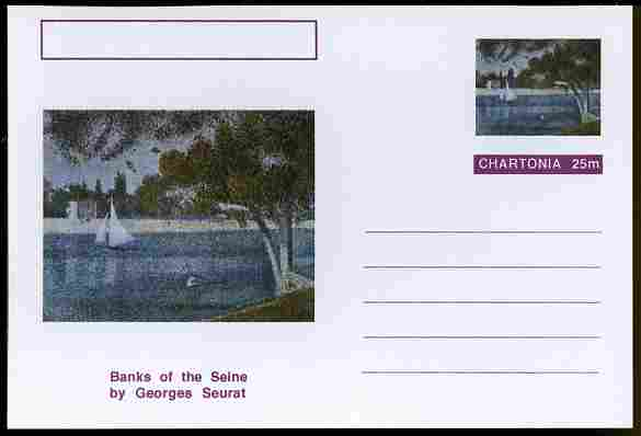 Chartonia (Fantasy) Famous Paintings - Banks of the Seine by Georges Seurat postal stationery card unused and fine