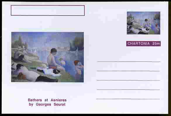 Chartonia (Fantasy) Famous Paintings - Bathers at Asnieres by Georges Seurat postal stationery card unused and fine