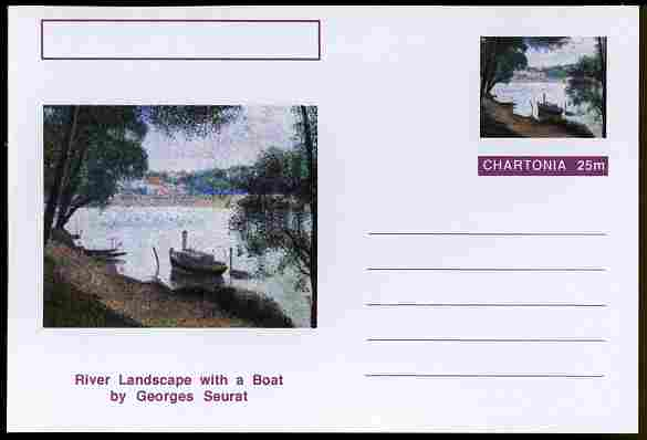 Chartonia (Fantasy) Famous Paintings - River Landscape with a Boat by Georges Seurat postal stationery card unused and fine