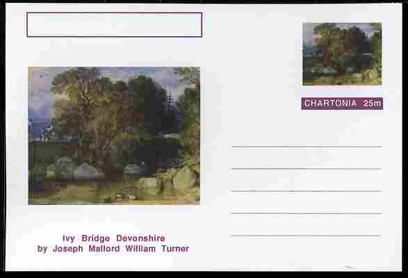 Chartonia (Fantasy) Famous Paintings - Ivy Bridge Devonshire by Joseph Mallord William Turner postal stationery card unused and fine