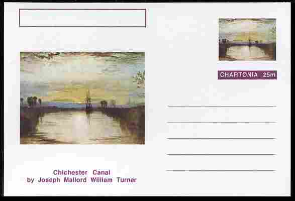 Chartonia (Fantasy) Famous Paintings - Chichester Canal by Joseph Mallord William Turner postal stationery card unused and fine