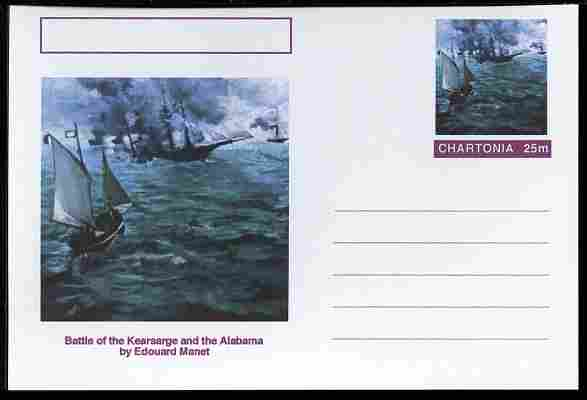 Chartonia (Fantasy) Famous Paintings - Battle of the Kearsarge and the Alabama by Edouard Manet postal stationery card unused and fine
