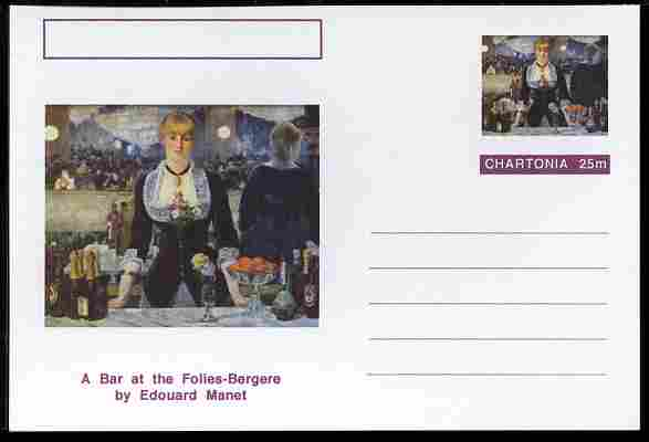 Chartonia (Fantasy) Famous Paintings - A Bar at the Folies-Bergere by Edouard Manet postal stationery card unused and fine