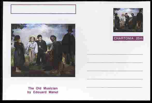 Chartonia (Fantasy) Famous Paintings - The Old Musician by Edouard Manet postal stationery card unused and fine