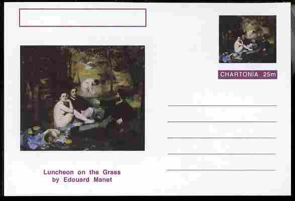 Chartonia (Fantasy) Famous Paintings - Luncheon on the Grass by Edouard Manet postal stationery card unused and fine