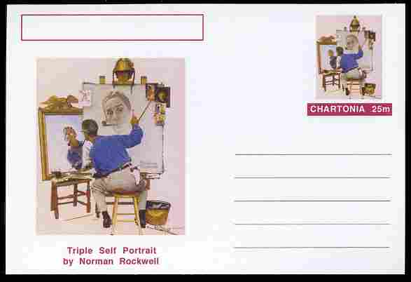 Chartonia (Fantasy) Famous Paintings - Triple Self Portrait by Norman Rockwell postal stationery card unused and fine