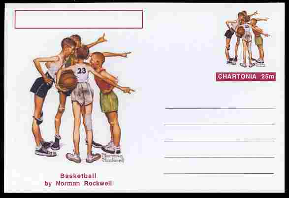 Chartonia (Fantasy) Famous Paintings - Basketball by Norman Rockwell postal stationery card unused and fine