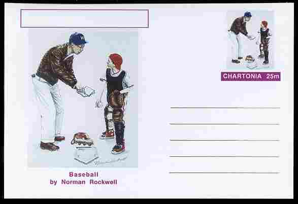 Chartonia (Fantasy) Famous Paintings - Baseball by Norman Rockwell postal stationery card unused and fine