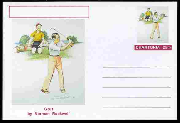 Chartonia (Fantasy) Famous Paintings - Golf by Norman Rockwell postal stationery card unused and fine