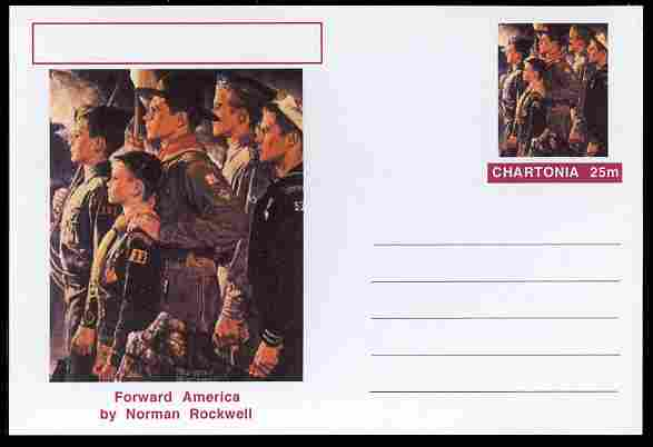 Chartonia (Fantasy) Famous Paintings - Forward America by Norman Rockwell postal stationery card unused and fine