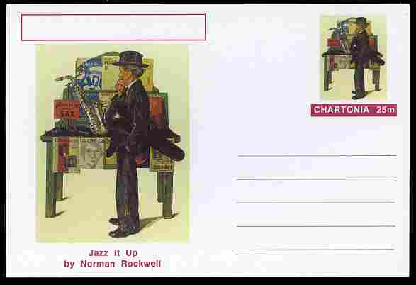 Chartonia (Fantasy) Famous Paintings - Jazz it Up by Norman Rockwell postal stationery card unused and fine