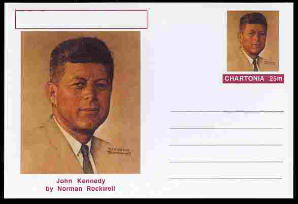 Chartonia (Fantasy) Famous Paintings - John Kennedy by Norman Rockwell postal stationery card unused and fine