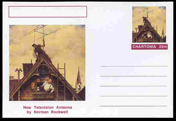 Chartonia (Fantasy) Famous Paintings - New Television Antenna by Norman Rockwell postal stationery card unused and fine