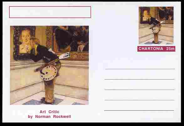 Chartonia (Fantasy) Famous Paintings - Art Critic by Norman Rockwell postal stationery card unused and fine