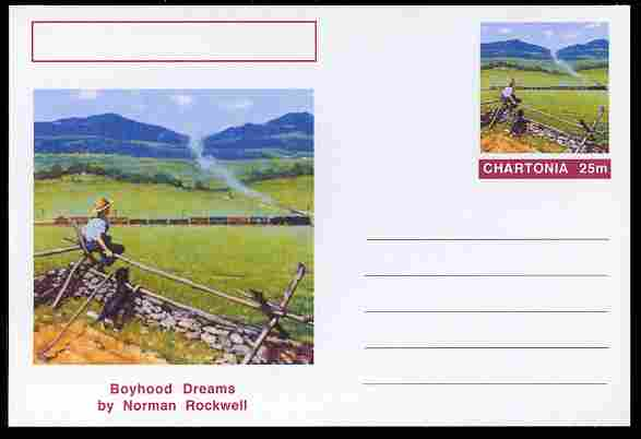 Chartonia (Fantasy) Famous Paintings - Boyhood Dreams by Norman Rockwell postal stationery card unused and fine
