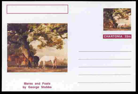 Chartonia (Fantasy) Famous Paintings - Mares and Foals by George Stubbs postal stationery card unused and fine
