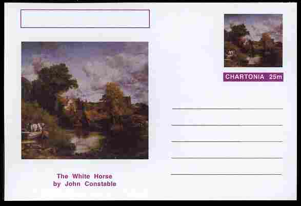 Chartonia (Fantasy) Famous Paintings - The White Horse by John Constable postal stationery card unused and fine