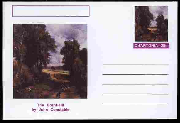 Chartonia (Fantasy) Famous Paintings - The Cornfield by John Constable postal stationery card unused and fine