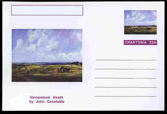 Chartonia (Fantasy) Famous Paintings - Hampstead Heath by John Constable postal stationery card unused and fine