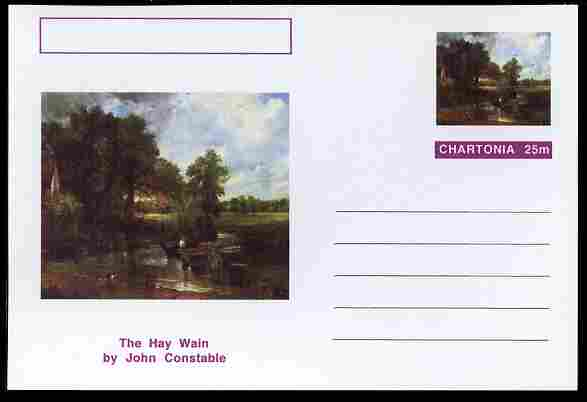 Chartonia (Fantasy) Famous Paintings - The Hay Wain by John Constable postal stationery card unused and fine