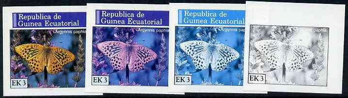 Equatorial Guinea 1976 Butterflies EK3 (Argynnis paphia) set of 4 imperf progressive proofs on ungummed paper comprising 1, 2, 3 and all 4 colours (as Mi 965)