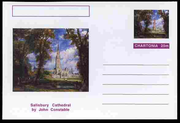 Chartonia (Fantasy) Famous Paintings - Salisbury Cathedral by John Constable postal stationery card unused and fine