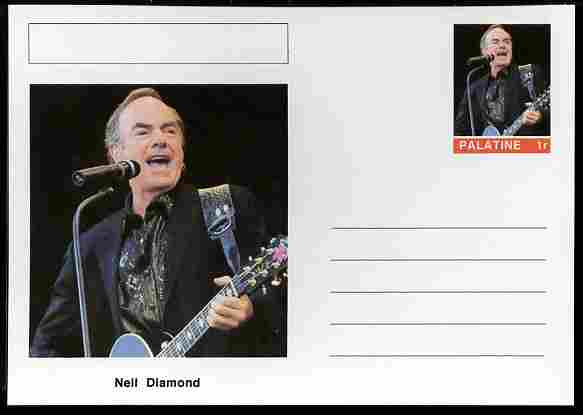 Palatine (Fantasy) Personalities - Neil Diamond postal stationery card unused and fine