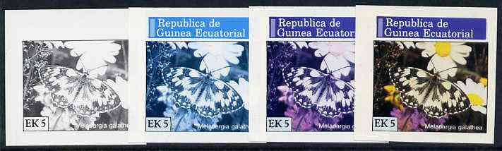 Equatorial Guinea 1976 Butterflies EK5 (Melanargia galathea) set of 4 imperf progressive proofs on ungummed paper comprising 1, 2, 3 and all 4 colours (as Mi 966)