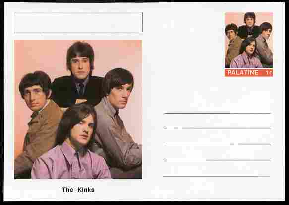 Palatine (Fantasy) Personalities - The Kinks postal stationery card unused and fine