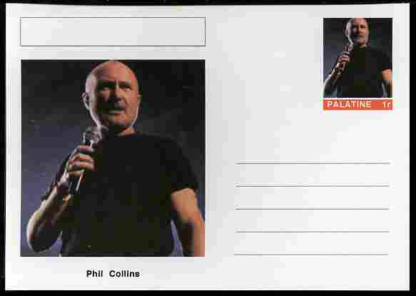 Palatine (Fantasy) Personalities - Phil Collins postal stationery card unused and fine