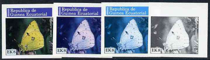 Equatorial Guinea 1976 Butterflies EK8 (Colias australis) set of 4 imperf progressive proofs on ungummed paper comprising 1, 2, 3 and all 4 colours (as Mi 967)